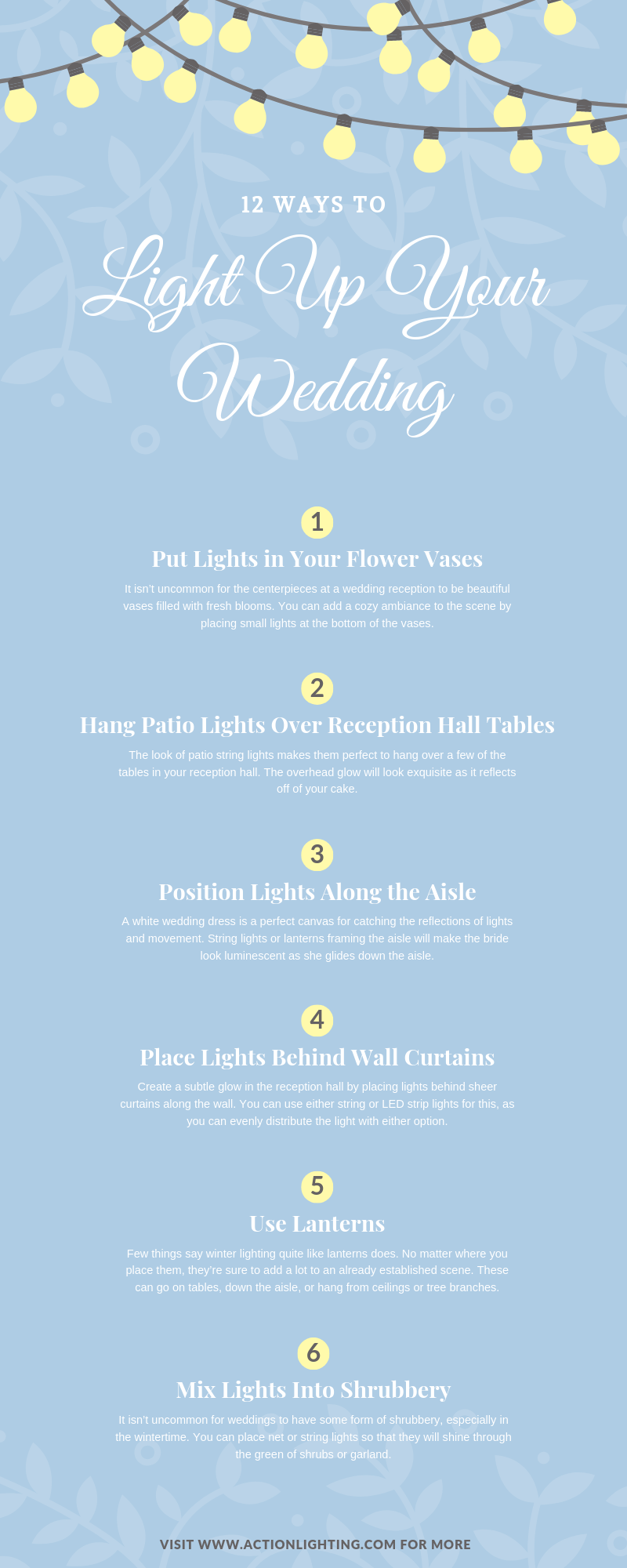 12 Ways to Light Up Your Wedding infographic